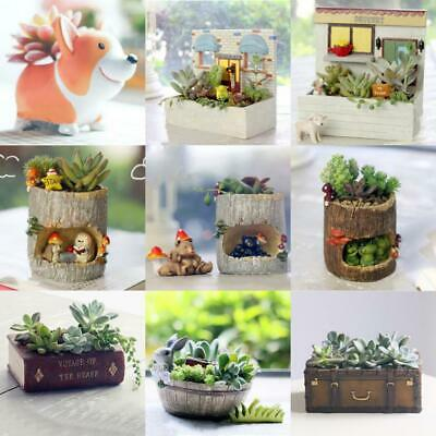 1 x Vintage Resin Garden Flower Herb Planter Succulent Pot Trough Box Plant Bed