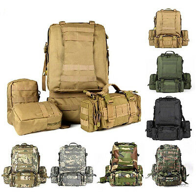 55L 3D Outdoor Large Military Tactical Backpack Rucksack Trekking Camping Bag