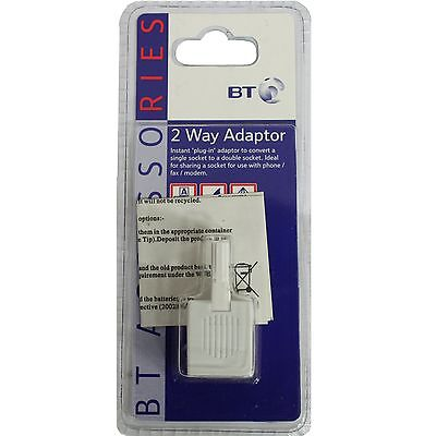 BT Phone Socket 2-Way Adapter Splitter Telephone Fax Modem 871578 K2HR