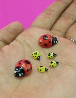 Adorable Ladybugs Family Miniature Ceramic Figurine Hand Painted Collectible