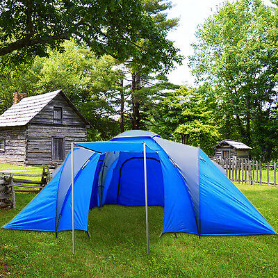 Camping Tent 6 Person Man Family Travel Dome Big Festival Group Blue Waterproof