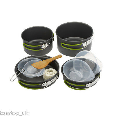 2-3 People Portable Outdoor Camping Tableware Cookware Cooking Set O2D8