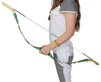 """Kids Camo Archery Recuvre Bow 42.5"""" Training Wooden Longbow Training Practice"""