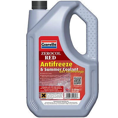 Granville Zerocol Red Antifreeze & Summer Coolant Oat Tecchnology 5 Litre