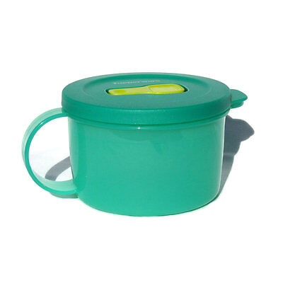 Tupperware Crystalwave Ezywave Soup Mug Crystal Green and Yellow 470ml NEW