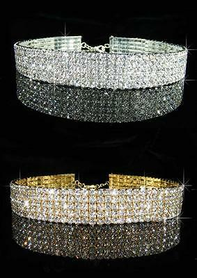 Bridesmaid Prom 5 Rows Simulated Diamond Silver / Gold Plated Choker 16mm 1072