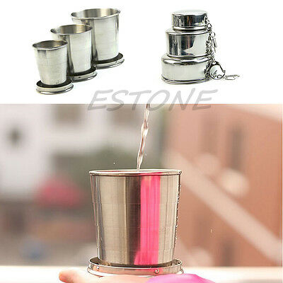 Mini Stainless Steel Portable Outdoor Travel Folding Collapsible Telescopic Cup