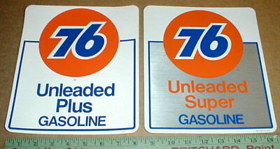 2 Unocal Union 76 gas station original vtg NOS new Gasoline pump decal sticker