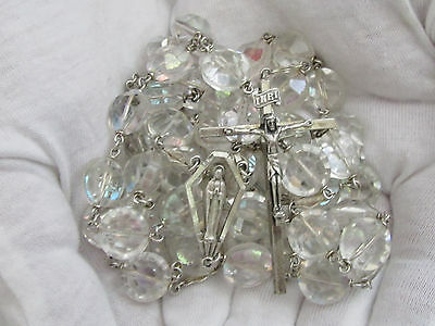 "† Rare Gigantic Vintage Sterling Flat Octagon Sparkly Rosary 45"" 137.86 Grams †"