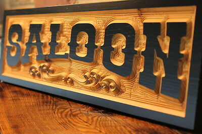 Old West Saloon Sign Bar Personalized Custom Carved Wood Sign Routed Rustic
