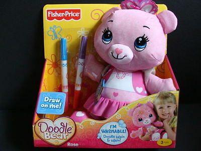 NEW Fisher Price Pink DOODLE BEAR Rose + Washable Markers Stencil Plush Draw On