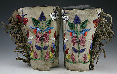 Northern Plains Beaded Brain-Tanned Deerhide Cuffs, c. 1900-1910