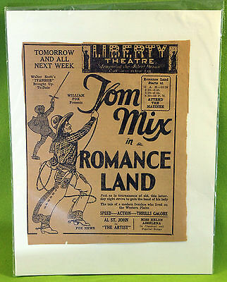 Antique Tom Mix Cowboy Old West Movie Advertisement Clipping Liberty Theatre