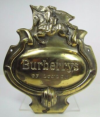 Vintage Burberrys of London Store Dispaly Plaque Adv Sign high relief Prorsum