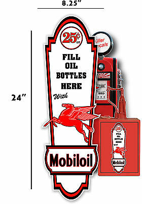 "24"" X 8"" MOBIL 25 cent MOBIL OIL LUBSTER front DECAL GAS PUMP, SIGN GASOLINE"