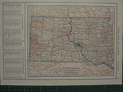 1926 Map ~ South Dakota State Counties Principal Cities Towns Rapid City Lennox