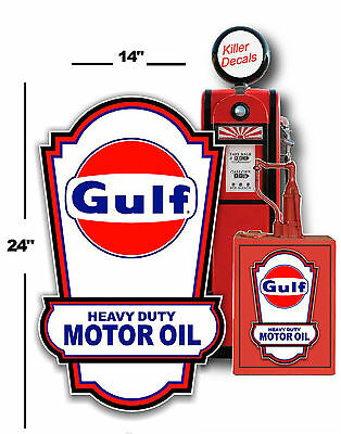 "24"" X 14"" Gulf Lubster Side Decal Oil Can Tank / Gas Pump Gasoline Vintage"
