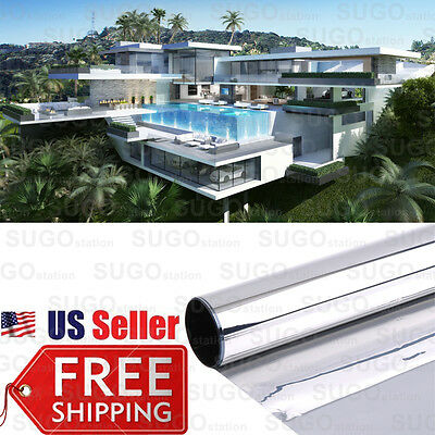 """3FTx12"""" One Way Mirror Home Office Privacy 35% Window Tint Reflection Film Solar"""