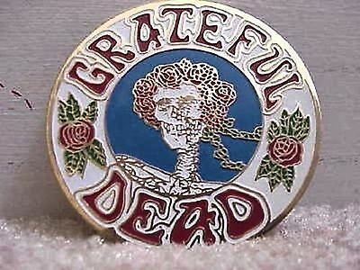 GRATEFUL DEAD SKULL AND ROSES ' BERTHA ' CLOISSONE PIN 1980's ERA