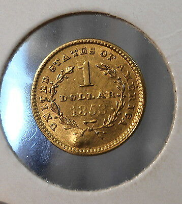 1853  Liberty Gold Dollar $1 United States 1 Dollar Gold  Rare Coin!