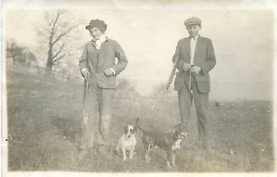 Antique Vintage Artistic Hunting Dogs Jack Russell Terrier Rifle Guns Rppc Photo