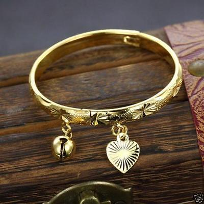 18Ct Gold Layered Childrens Girls Childs Hinged Bangle - 9 months to 3 years