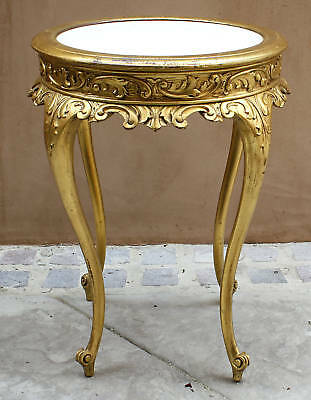 MAGNIFICENT 19C FRENCH MARBLE TOP GOLD  SIDE TABLE ( must see )