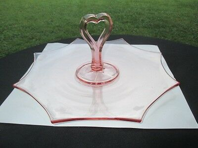 SPIDER ARACHNID OCTAGON PINK DEPRESSION GLASS HEART center handle COOKIE PLATE