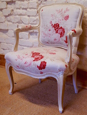 French Antique Louis XV Armchair upholstered in KATE FORMAN 'Roses'