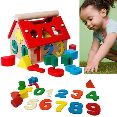 Kids Baby Boys Girls Play Games Wooden Digital Number House Building Blocks Toy