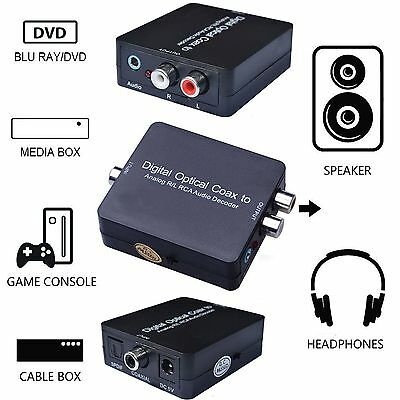 Dolby DTS Digital Optical Coaxial Toslink to Analog RL RCA Audio Decoder Adapter