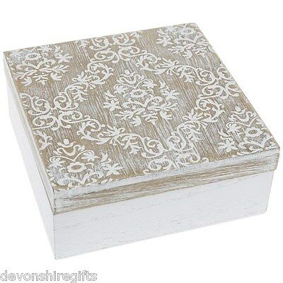 Shabby Chic White Wooden Decorative Square Box Jewellery Trinket Storage Rustic