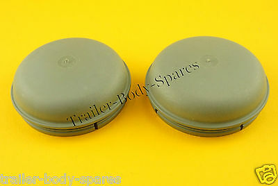 2 x 76mm Grey 'NO LOSS' Grease Dust Hub Cap for IFOR WILLIAMS Trailer