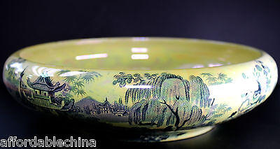Maling Coronet Yellow Luster Ware Pastoral Scene Large Console Bowl