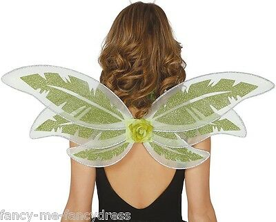 Ladies Green Garden Fairy Pixie Wings Fancy Dress Costume Outfit Accessory