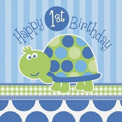 First (1st) Birthday (Boy) TURTLE 16 Luncheon NAPKINS (Party/Kids/Tableware)
