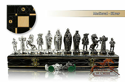"Luxury MEDIEVAL SILVER Chess Set 40cm / 16"" Wooden Board / Metalized PIeces"