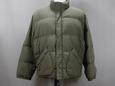 J Crew Down Filled puffer Jacket Mens xl Green Brown Olive coat