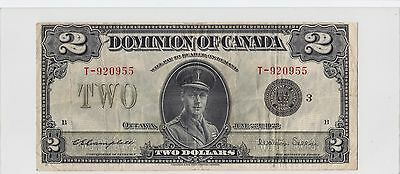 1923 Dominion of Canada $2 Large Sized Bank Note DC26-J T-920955