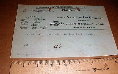 1926 original vintage Valvoline motor Oil Co bill Philadelphia PA Cherryville NC