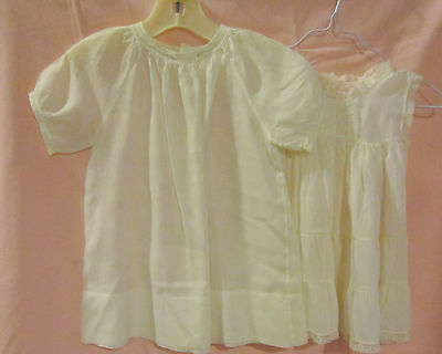 Vint ivory batiste baby dress w openwork & embrdry + full slip-dolls or baby  EC