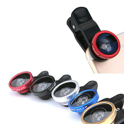 2016 3in1 phone clip lens fisheye wide angle for iphone 6s plus 5s/5 htc samsung