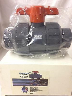 "Nib Asahi True Union Ball Valve 1-1/2"" Quarter Bloc Pvc Body Epdm New"