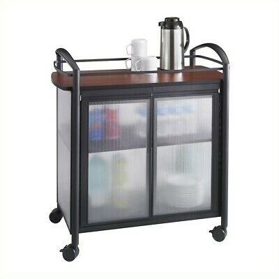 Safco Impromptu Refreshment Cart in Cherry & Black