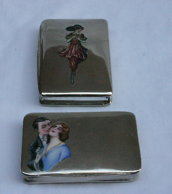 Magnificent Two 19 C  800 European Enameled Silver Boxes, Must See