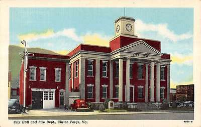 Clifton Forge Virginia City Hall And Fire Dept Linen Antique Postcard K17921