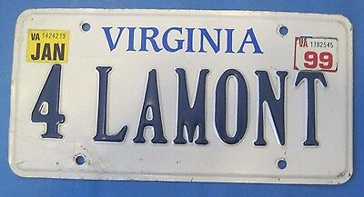 1999 Virginia License plate 4 LAMONT