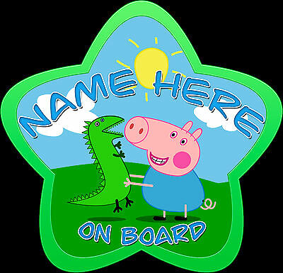 Personalised Star Shaped George Pig Car Sign Baby on Board Safety New Green