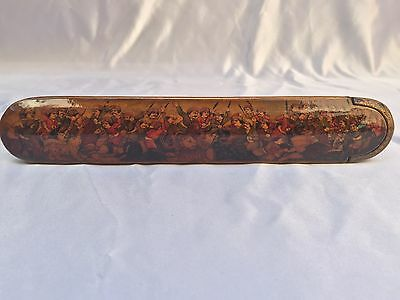 Unique 19C Persian Qalamadan, Paper Mache Pen Holder Box Signed Samiromie 1325