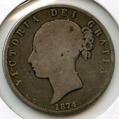 Great Britain 1874 Silver Coin - Half Crown - Queen Victoria - WFC AF932